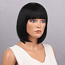 Women Short Straight Full Bangs Bob Hairstyle Synthetic Hair Full Wig-Black