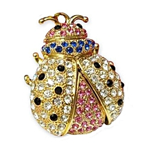 Gold 8GB Bug Bees Shape Crystal USB Flash Drive Memory Stick (Pendant For Necklace)