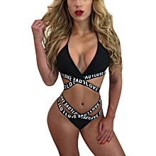 douajso Womens Letter  Printed Divided Body Bikini Swimwear Swimsuit Bathing Beachwear