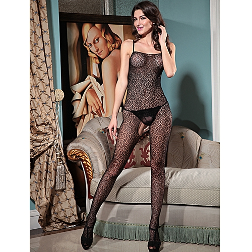 d1effe9f3ac Generic Sexy Women Sheer Lace Jumpsuit Body Stocking Bodysuit Spaghetti  Strap Backless Slim Lingerie Nightwear Black