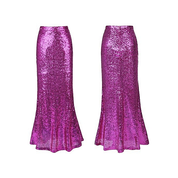 54317c11 ... Women Sexy Vintage Long Maxi Sequined Skirt Trumpet Solid High Waist  Plus Size Ladies Party Club ...