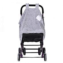 Baby Stroller Seat Cover Breathable Sun Shade Dustproof Blanket Gray&White