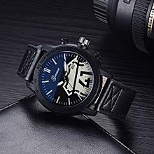Olivaren GONEWA Fashion Men Date Stainless Steel Leather Analog Quartz Sport Wrist WatchBlack