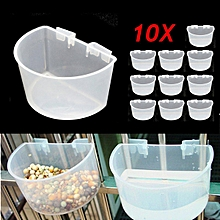 10Pcs 7.5cm Plastic D Cups Feeder with Hooks Aviary Birds Finches Canary Pet