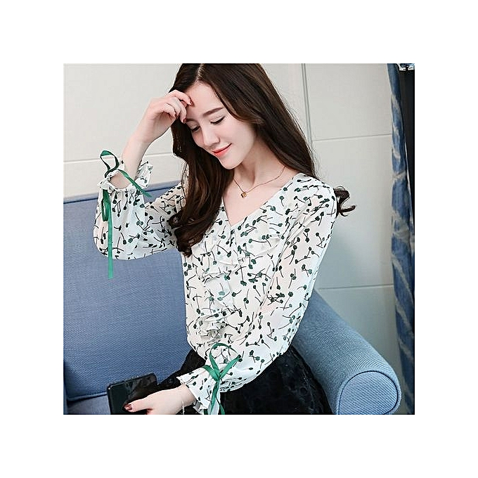 5367ba6a960128 Korean Fashion Spring New Women s V-neck Blouse Fresh Floral Printed Long-sleeved  Chiffon