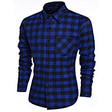 COOFANDY Hot ?Fashion Men\'s Casual Leisure Grid Long Sleeve Lapel Shirts ( Dark Blue )
