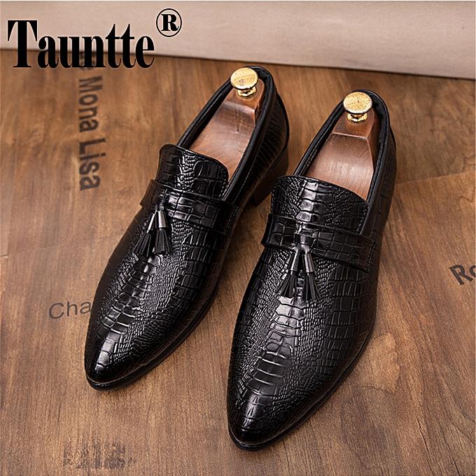 2d07ddee93 Men's Formal Shoes Alligator Leather Loafers Tassel Business Casual  Moccasins