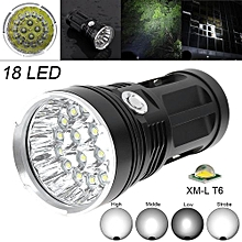 Flashlight  Super Bright 18x XM-L T6 LED 5400Lumens Aluminum Waterproof Torch With 4 Modes Light Support 18650 Rechargeable Battery For Backpacking / Fishing