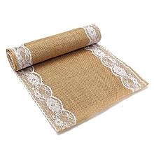280x30cm Natural Vintage Burlap Lace Jute Hessian Table Runner Wedding Decor
