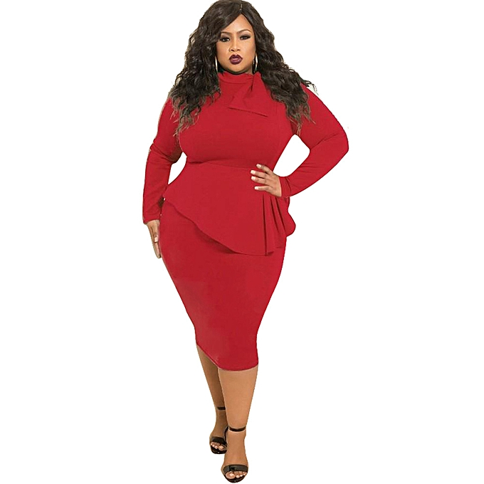 7ed4806bccd Fashion Autumn Plus Size Bowknot Long Sleeve Women Dress D1053 Red   Best  Price