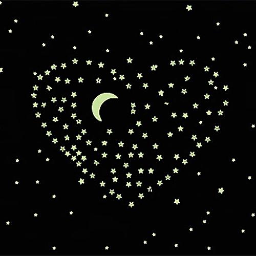 Luminous Wall Stickers Night Glow Wallpaper Creative Light Green Sky Star Moon DIY Home Decor Fluorescent