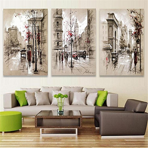 f5da03d9e93 Generic 3pcs No Framed Canvas Prints Painting Home Bedroom Art Wall Picture  City-L   Framed