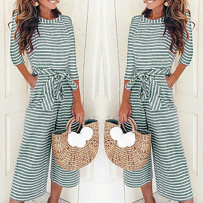 22b0c7e2e790 jiuhap store Women Half Sleeve Striped Casual Clubwear Wide Leg Pants  Outfit Jumpsuit -Green