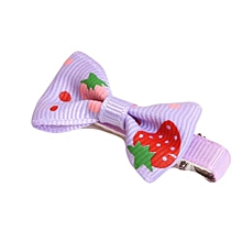 Girls Hair Clips Ribbon Bow Kids Strawberry Satin Bowknot Hairpin Purple