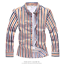 Stripe Mens Shirts  Long Sleeve Shirts (Yellow&Blue)