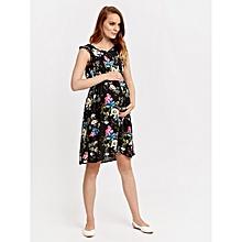 Black Floral Fashionable Dress