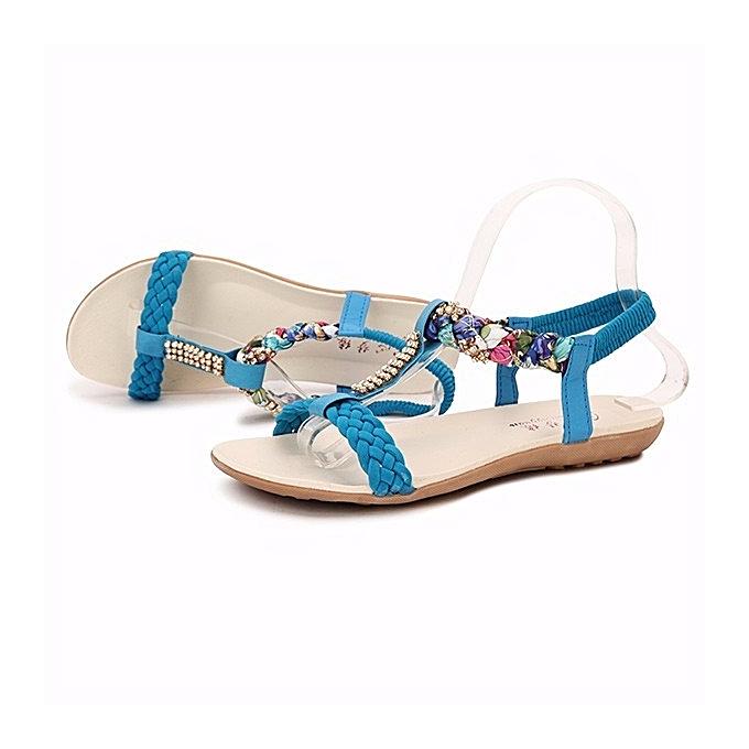 f068c10e8 ... Women Summer Chic Sandals Beach Rhinestone Peep Toe Shoes Flat Sandals  ...