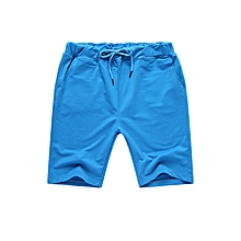 Summer Men's Solid Color Elastic Waist Sports Shorts Casual Breathable Beach Shorts