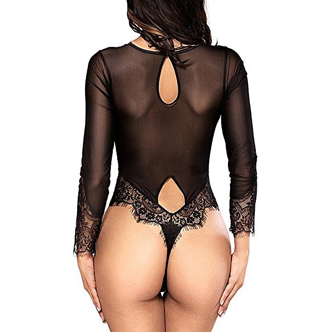 cd65342e3fd ... Women Sexy Lingerie Long Sleeve Bodysuit Sexy Lace Deep V Bodydoll  Lingerie ...