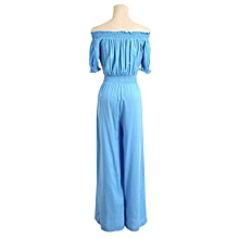 Sexy New Women Jumpsuits Summer Long Pant Strapless Shoulder Waist Shoulder Pants