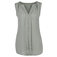 e66dbc3613fae4 Womens Plus Size Chiffon Vest Shirt Sleeveless Blouse Casual Tank Tops  T-Shirt -Gray