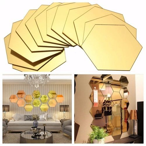 12PCS 3D Mirror Hexagon Vinyl Removable Wall Sticker Decal Home Decor Art - Beige