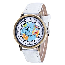 Tectores 2018 Fashion Multifunction Fashion Women's World Map Cowboy Band Analog Quartz Wrist Watch White
