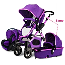 3 in 1 Pro Baby Stroller High View Pram Foldable Pushchair Bassinet & Car Seat #purple