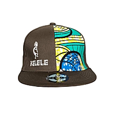 Brown And Cyan Snapback Hat With Kelele Color On Panel