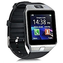 Touch Screen Smart Watch Phone DZ09 - Silver Black