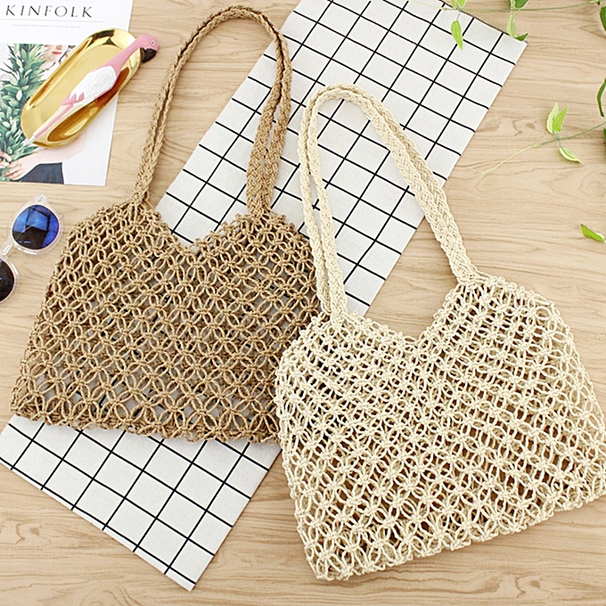 f88dcc62a61 ... Minimalist Artsy Vintage Mori Fashionable Hollow Out Weave Bag  Vacationing Beach Summer Cotton Handbags Beautiful and