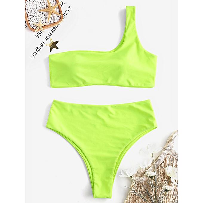 787a98fca49ee9 ZAFUL Padded One Shoulder High Cut Bikini Swimwear