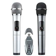 Bluetooth Two Handheld Microphone Wireless Light-in-weight - Silver + Gray