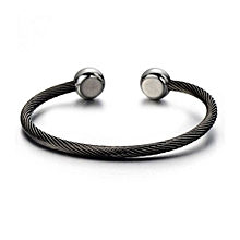 Magnetic Therapy Mens Stainless Steel Twisted Cable Bangle BraceletSilver Black Two-tone Polished
