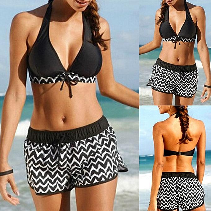 d5498b64b8 douajso Women Tankini Sets Two Piece Bikini Sets With Surfing Short Boy  Shorts Swimwear