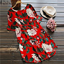 ZANZEA Women Plus Size A-Line Boho Floral Sundress Cotton Beach Party Dress (Short Sleeves)