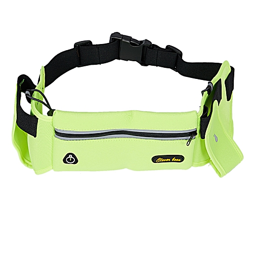 6d3aa4486118 Clever bees Running Hydration Belt, Waterproof Sport Waist Pack with 2  Water Bottles Pocket, Adjustable Running Pouch with Hea(Green Color)