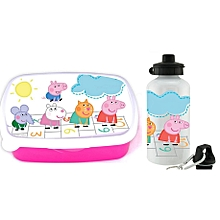 Peppa pig branded cartoon water bottle and plastic snack box