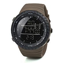 Fashion Black Sports Rubber Band Men's Digital Army Military Quartz Wrist Watch-Coffee
