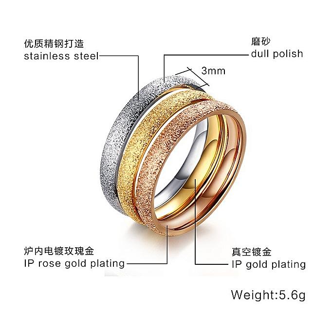 Fashion fashion jewelry 3MM stainless steel sandblasting ring  steel-gold--Rose Gold R-126-Mei Wai 5