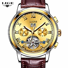 LIGE Waterproof Automatic Mechanical Watch Men Leather Business Mens Watches Top Brand Luxury Sports Watches Relogio Masculino 9813