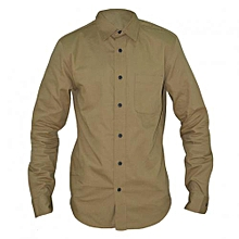 Beige Long Sleeved Men's Basic Shirts