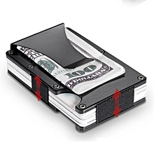 Quality Mens Pocket Stainless Steel Money Clip Credit Card Holder Slim Wallet (Color:Black)