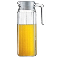 1L Glass Jug Pitcher With Lid, Hot/Cold Water Jug For Juice & Beverages