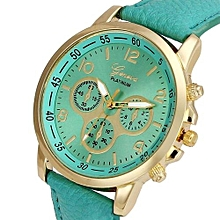 Fohting Unisex Casual Geneva Faux Leather Quartz Analog Wrist Watch Watches MG -Mint Green