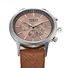 Olivaren NORTH Luxury Mens Genuine Leather Band Analog Quartz Watches Wrist Watch GD Gold