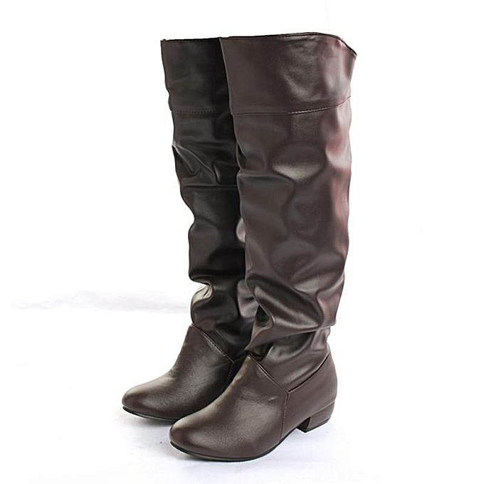 9e863087e Women Winter Warm Shoes Leather Casual Flat Heel Knee High Boots Long  Rainboots brown