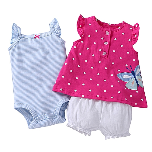 4e7781b39983f Generic Hot sale Baby clothes cotton floral Baby Clothing Set baby rompers  Girls summer pattern Sets 3 pieces set 1 set + 1 romper