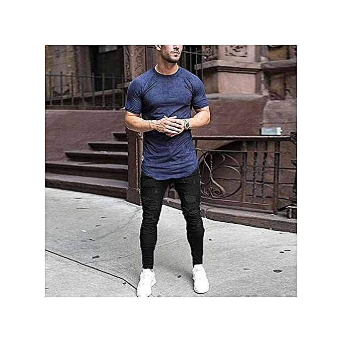 83d2326b4cb Refined Men s Skinny Jeans Washed Men s Tight Knee Hole Pants Thin Jeans  For Men-black