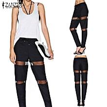 ZANZEA Women Leggings Summer Pants Casual Mesh Patchwork High Elastic Waist Trousers Hollow Out Full Length Pants